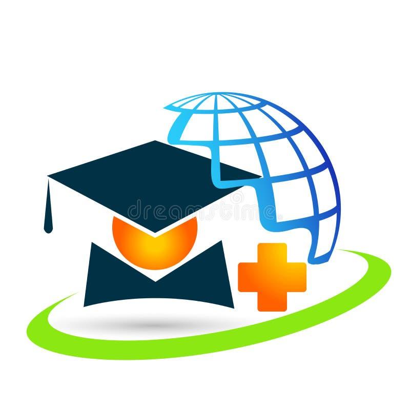 Elemento médico del icono del soltero de la alta educación del mundo de los graduados de los estudiantes del logotipo de la gradu libre illustration