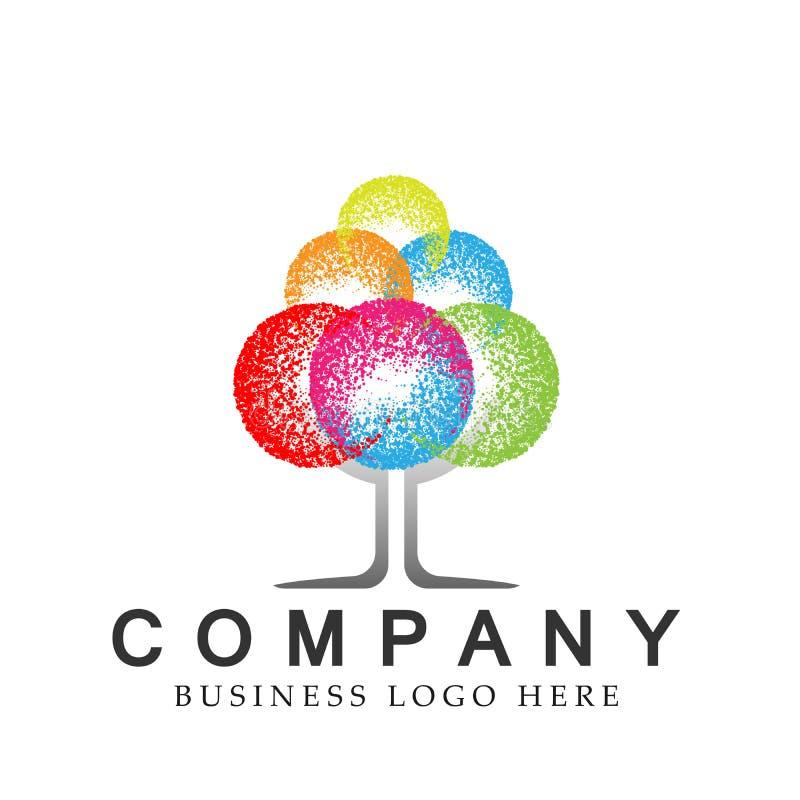 Elemento moderno de intervalo mínimo do projeto do ícone do logotipo da árvore da árvore colorida abstrata para o logotipo da emp ilustração do vetor