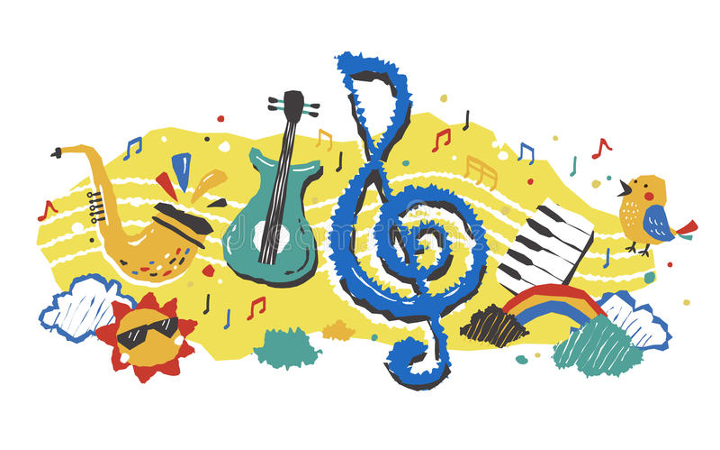 Elemento musical bonito ilustração stock