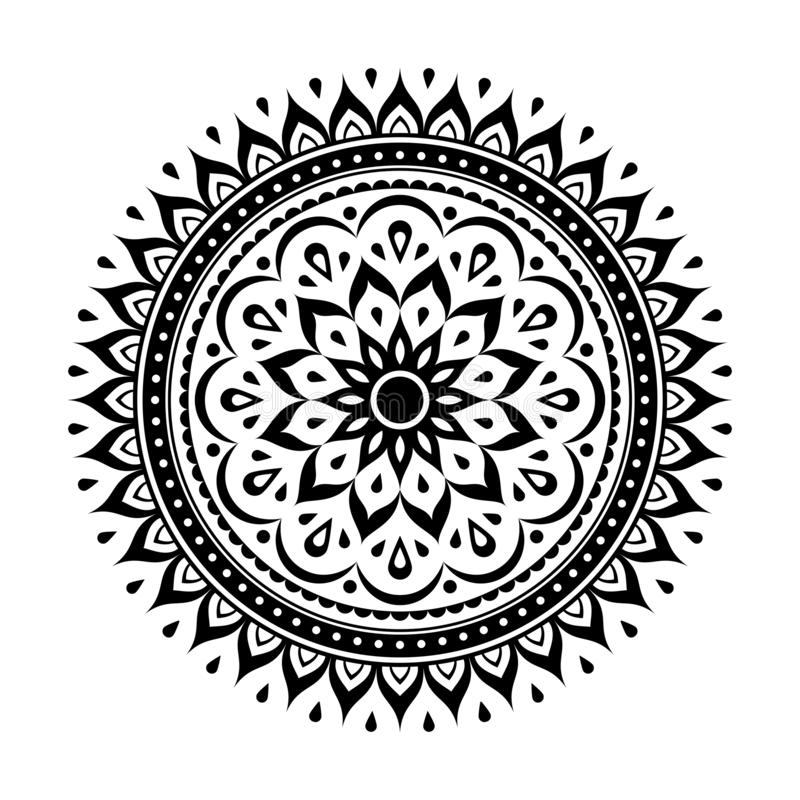 Elemento negro de la decoración de la mandala ilustración del vector