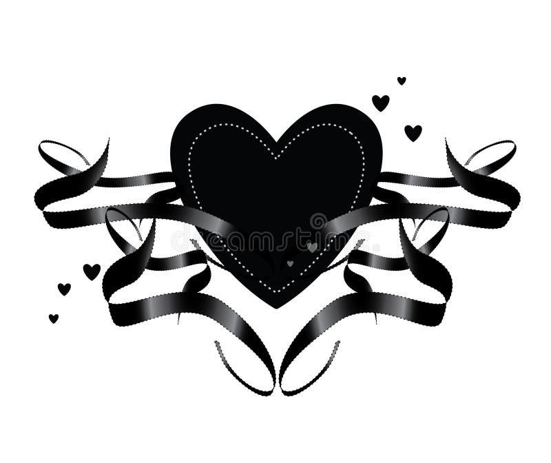 Elemento nero del cuore del nastro illustrazione di stock