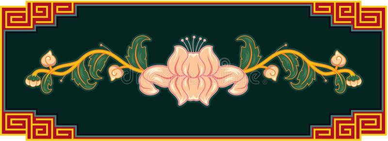 Elemento orientale di disegno del loto illustrazione vettoriale