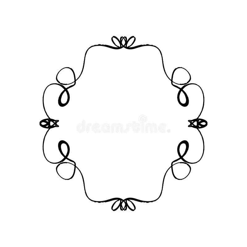 Elemento ornamentado da decoração do quadro Ornamento rico do esboço preto detalhado da tinta ilustração stock