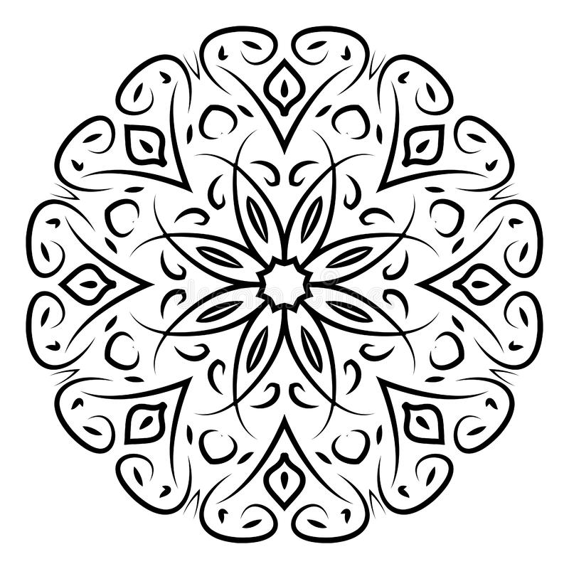 Elemento ornamental decorativo Mandala negra en el fondo blanco Ilustración del vector stock de ilustración