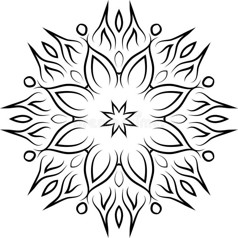 Elemento ornamental decorativo Mandala negra en el fondo blanco Ilustración del vector ilustración del vector