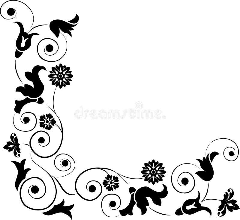 Elemento per il disegno, fiore d'angolo, vettore illustrazione vettoriale