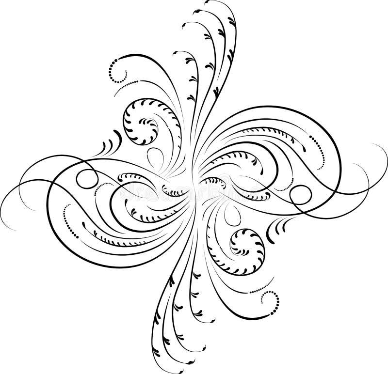 Elemento per il disegno, fiore d'angolo, vettore royalty illustrazione gratis