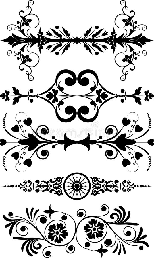Elemento per il disegno, fiore d'angolo, vettore illustrazione di stock