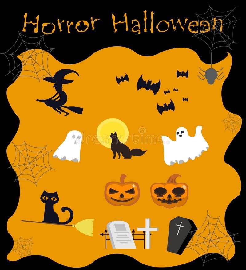 Elemento per la decorazione, progettazione piana della raccolta di Halloween del fumetto immagine stock libera da diritti