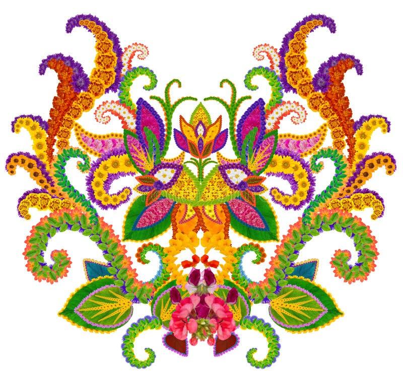 Elemento persa do tapete - botão de um Llily celestial ilustração do vetor
