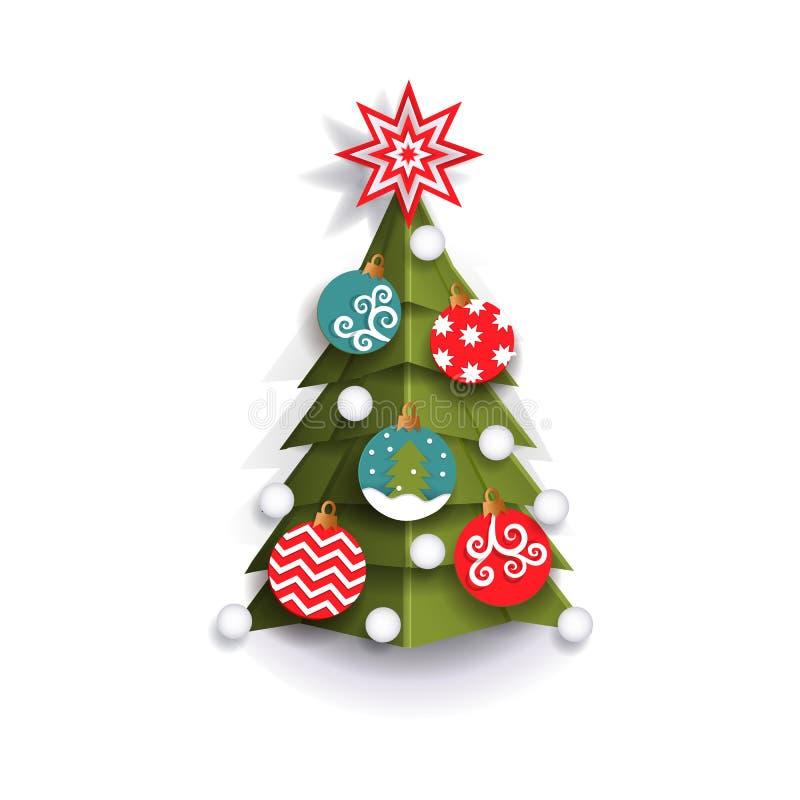 Elemento piano della decorazione dell'albero di Natale del taglio della carta illustrazione di stock