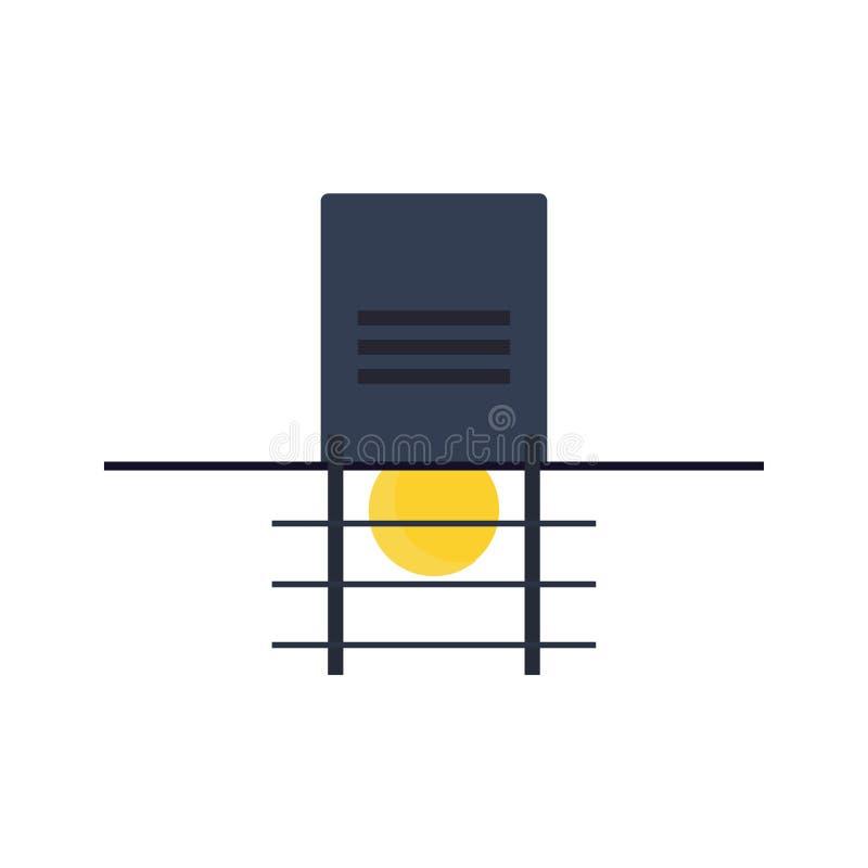 Elemento piano della via della lampada del segno elettrico all'aperto dell'oggetto Icona di illuminazione della posta del parco d illustrazione vettoriale