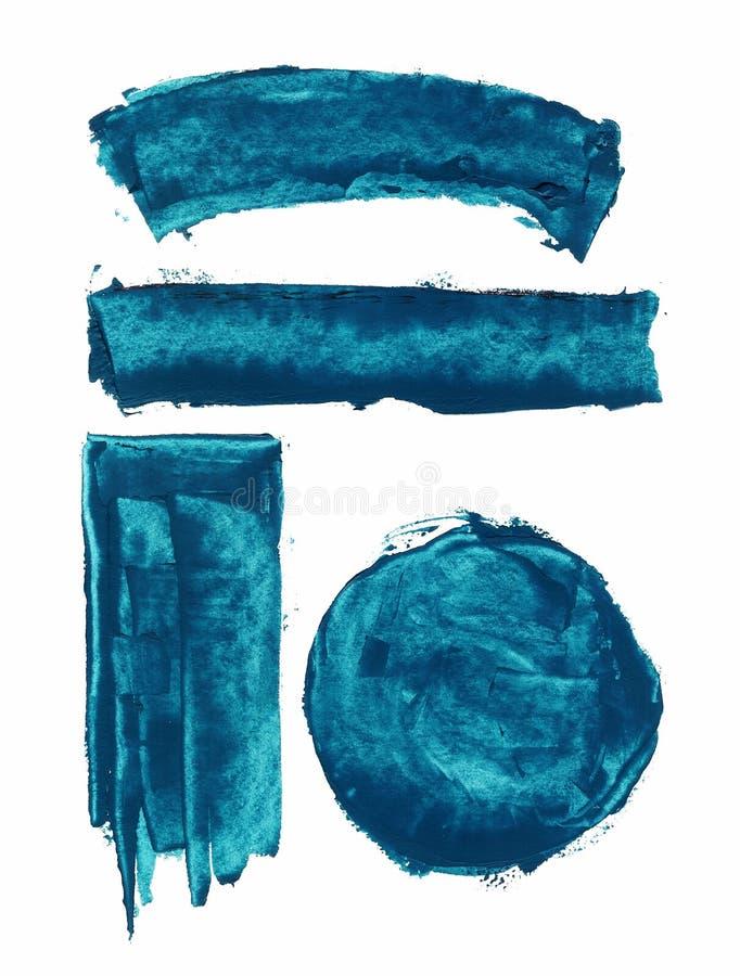 Elemento pintado à mão do fundo do Grunge Close up da mancha isolado no fundo branco Mancha acrílica com cursos da escova ilustração do vetor