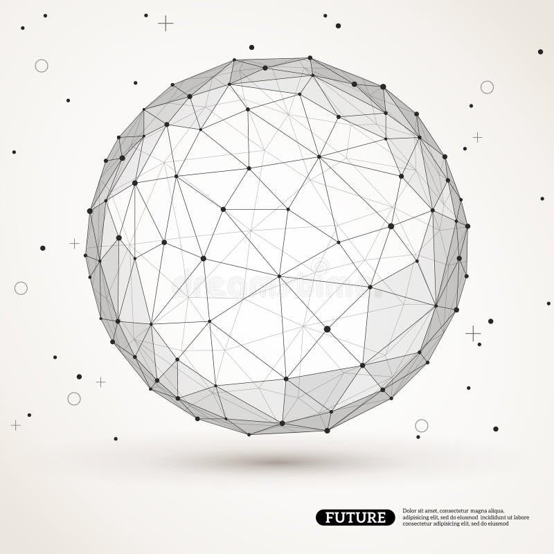Elemento poligonal da malha de Wireframe Esfera com ilustração do vetor