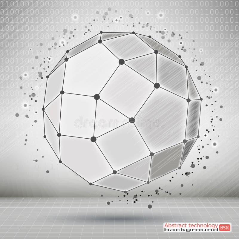 Elemento poligonal de Wireframe Desenvolvimento tecnologico e comunicação Objeto 3D geométrico abstrato com linhas finas ilustração do vetor