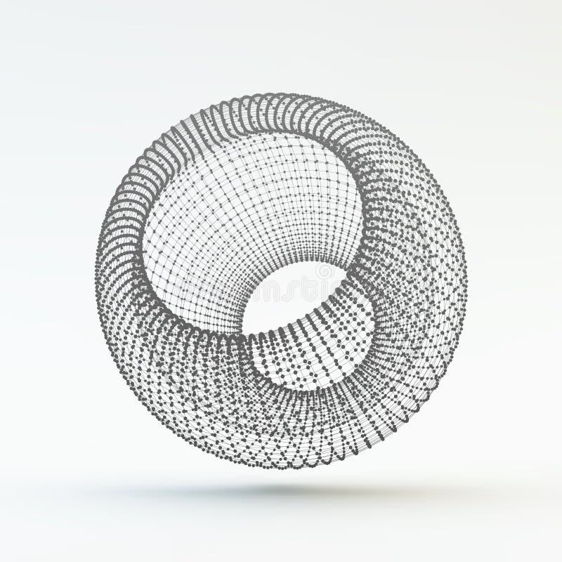 Elemento poligonal geométrico del enrejado Estructura de la conexión Ilustración del vector stock de ilustración