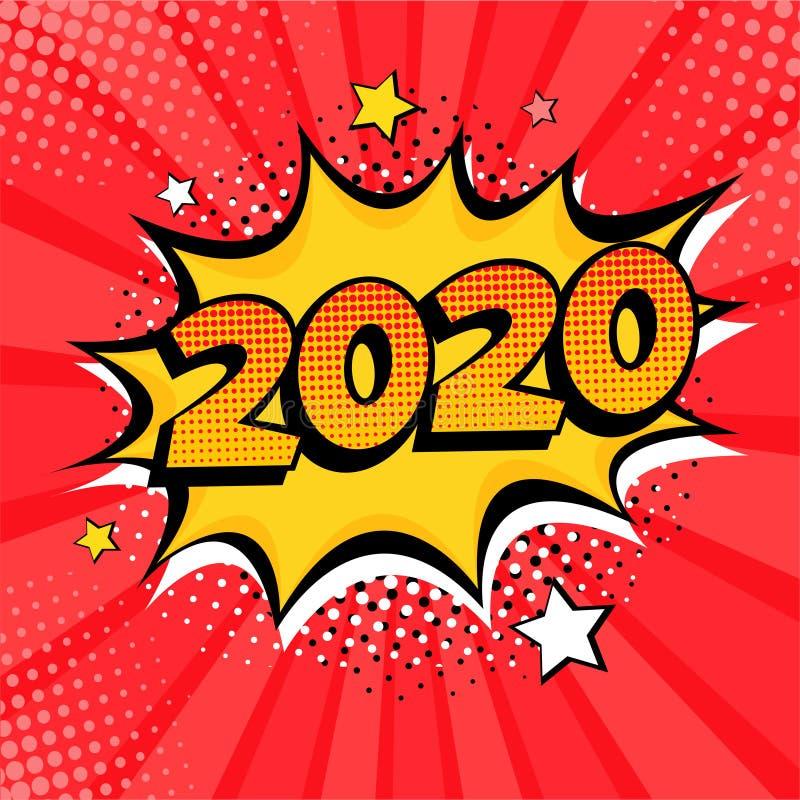 Elemento postal o de tarjeta de felicitación estilo libro de historietas de Año Nuevo 2020 ilustración del vector