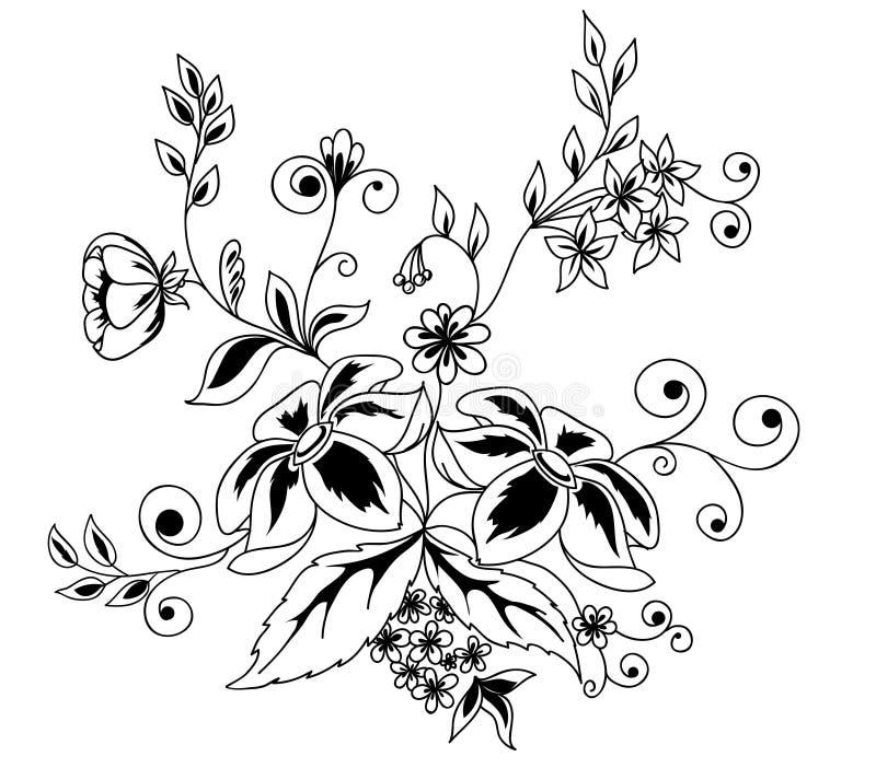 Elemento preto e branco do projeto das flores e das folhas   ilustração royalty free