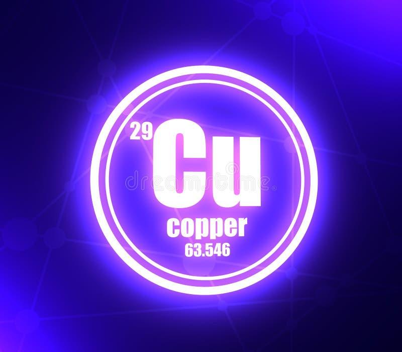Elemento químico de cobre ilustração stock