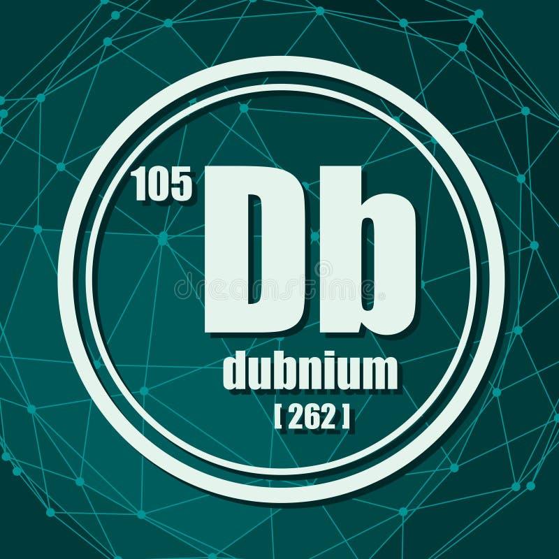 Elemento químico de Dubnium ilustración del vector