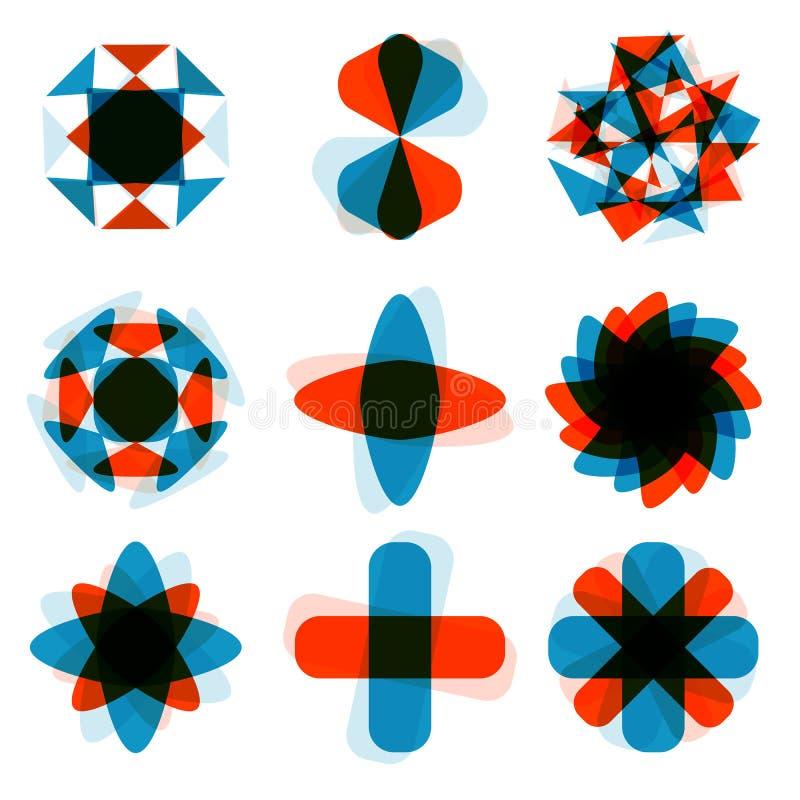 Elemento quadrato astratto di logo di progettazione Schiacciando intorno al modello di rettangolo Icone quadrate variopinte messe illustrazione vettoriale