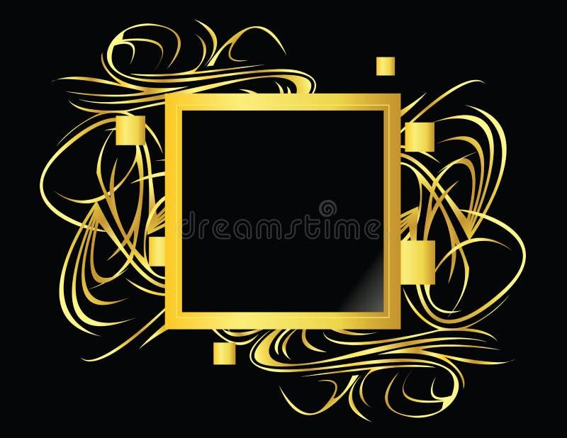 Elemento quadrato del nero dell'oro royalty illustrazione gratis