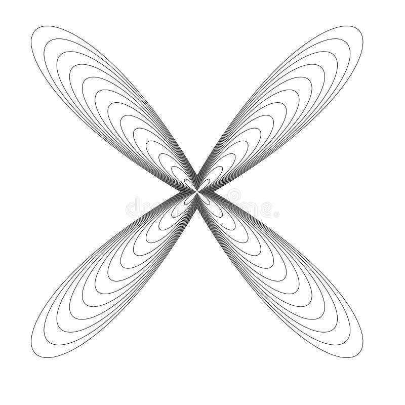Elemento radial geométrico, motivo abstrato Cruzamento Distorted ilustração stock
