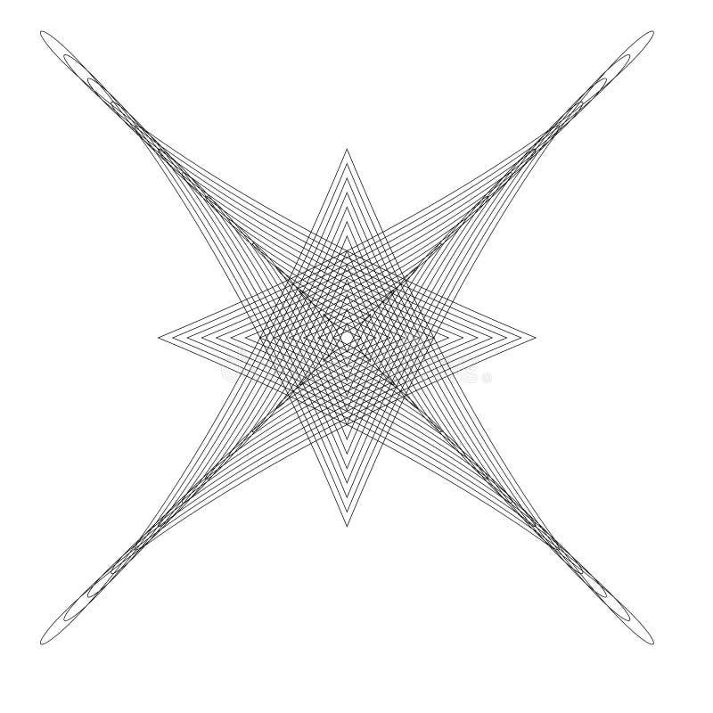 Elemento radial geométrico, motivo abstrato Cruzamento Distorted ilustração do vetor