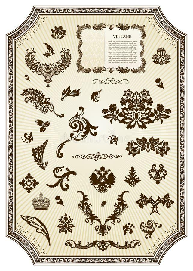 Elemento real del diseño de la vendimia floral libre illustration
