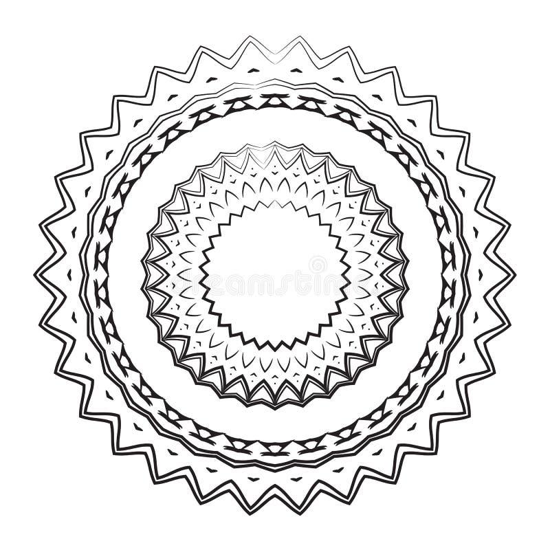 Elemento Redondo Para El Libro De Colorear Mandala Blanco Y Negro ...