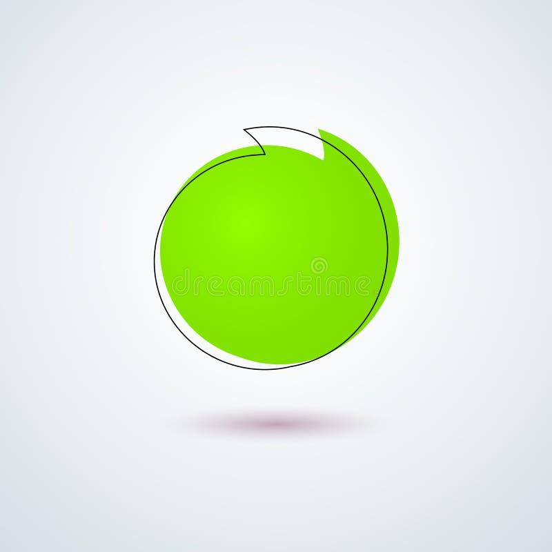 Elemento redondo verde claro del diseño del marco de la bandera de la etiqueta autoadhesiva de la etiqueta del promo para hacer p stock de ilustración