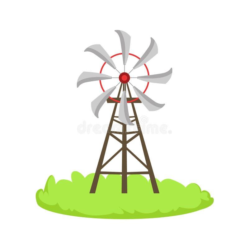 Elemento relacionado de la granja de la historieta de la estructura del molino de viento de la energía en remiendo de la hierba v stock de ilustración