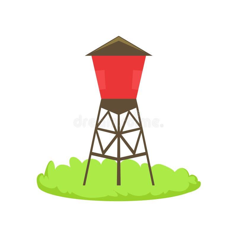 Elemento relacionado de la granja de la historieta del barril del agua roja en remiendo de la hierba verde stock de ilustración