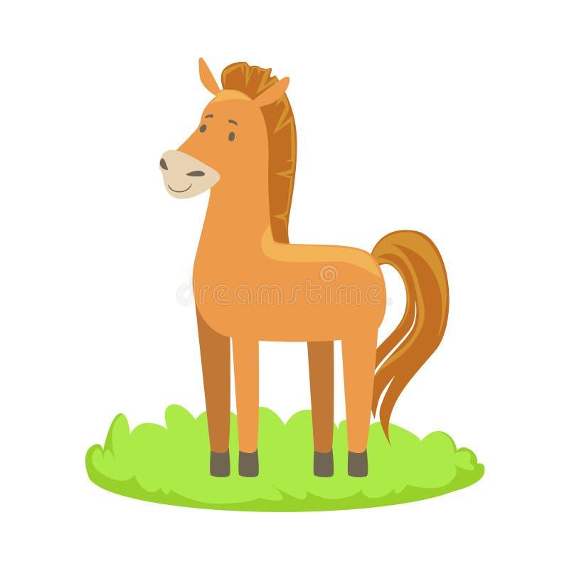 Elemento relacionado de la historieta del animal del campo del caballo en remiendo de la hierba verde stock de ilustración