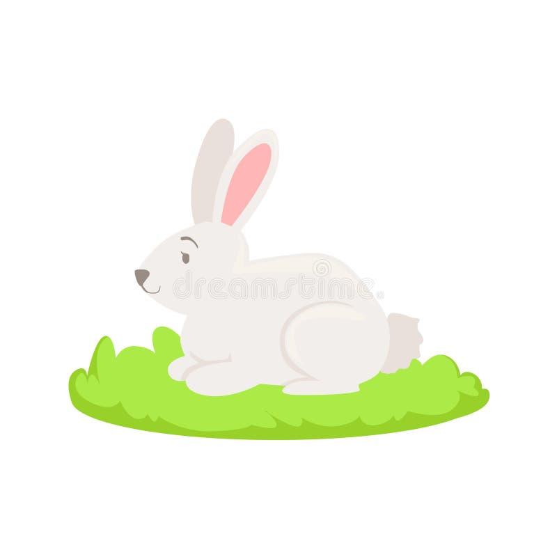 Elemento relacionado de la historieta del animal del campo del conejo en remiendo de la hierba verde libre illustration