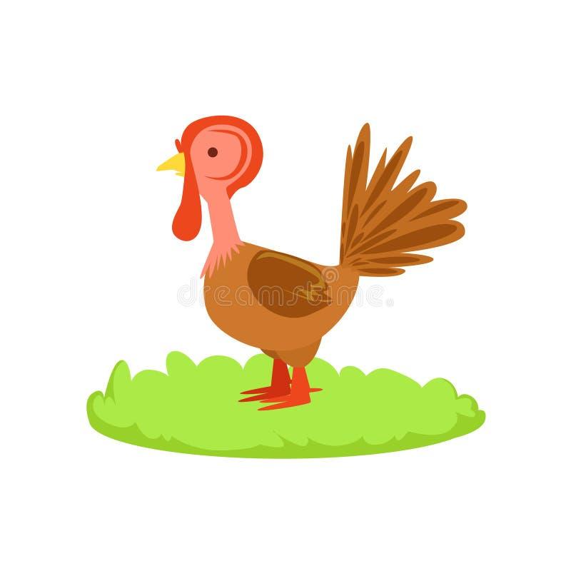 Elemento relacionado de la historieta del pájaro de la granja de Turley en remiendo de la hierba verde stock de ilustración