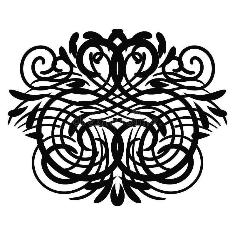 Elemento riccio astratto nero per progettazione, monogramma, turbinio, ricciolo illustrazione vettoriale