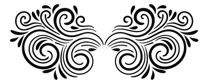 Elemento rizado abstracto negro para el diseño, remolino, rizo stock de ilustración