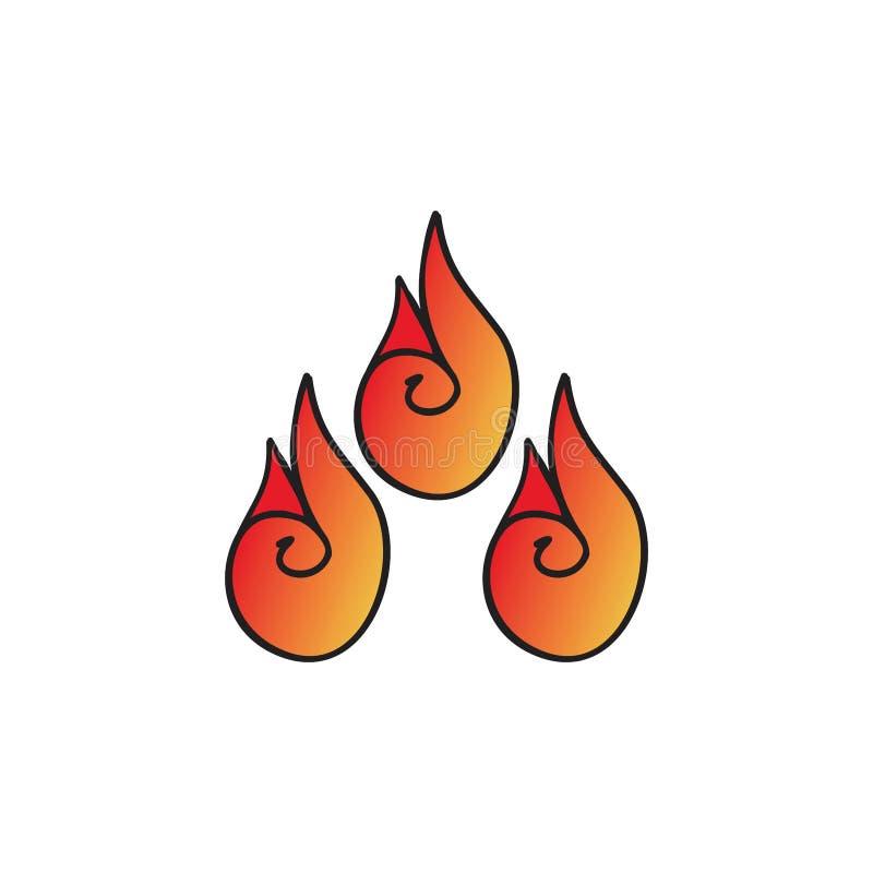 Elemento rojo caliente del símbolo de las llamas stock de ilustración