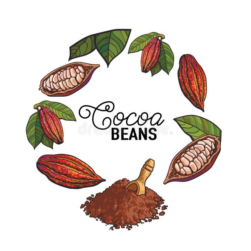 Elemento rotondo della decorazione della struttura della frutta, dei fagioli e della polvere del cacao royalty illustrazione gratis