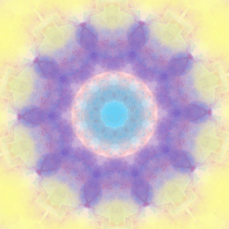 Elemento rotondo di progettazione del cerchio geometrico del modello di stile della mandala di colore pastello illustrazione di stock