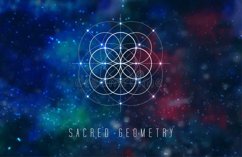 Elemento sacro di progettazione di vettore della geometria su un fondo cosmico astratto illustrazione di stock