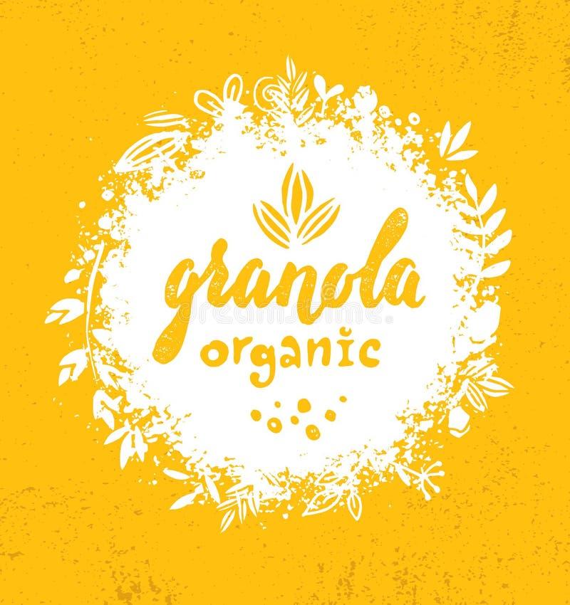 Elemento sano del diseño de la comida de la nutrición del vector del cereal del Granola del bocado del vegano Concepto hecho a ma stock de ilustración