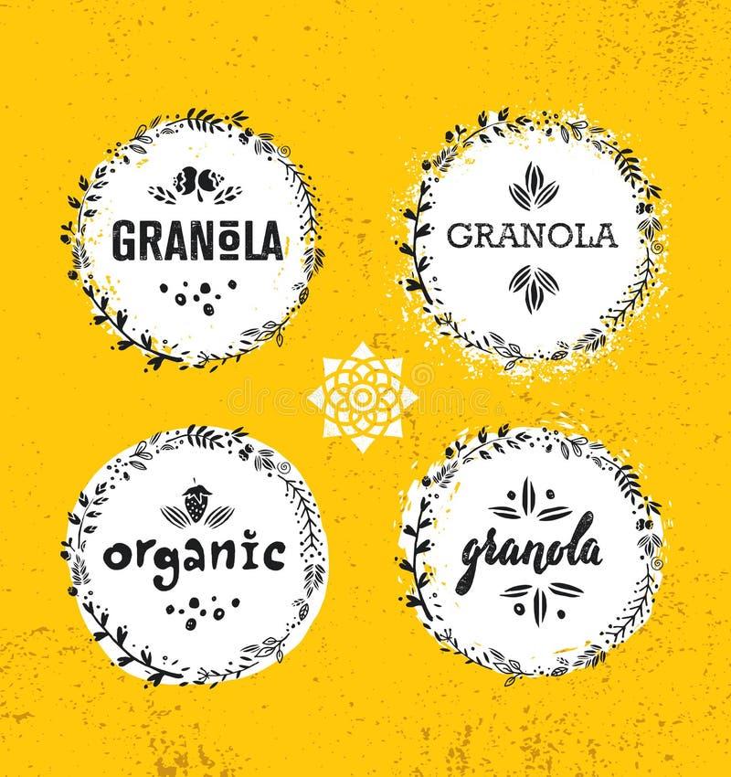 Elemento sano del diseño de la comida de la nutrición del vector del cereal del Granola del bocado del vegano Concepto hecho a ma libre illustration