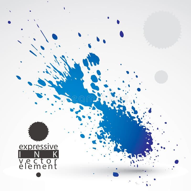 Elemento schizzato di web design, chiazza dell'inchiostro di arte, pennello luminoso d illustrazione vettoriale
