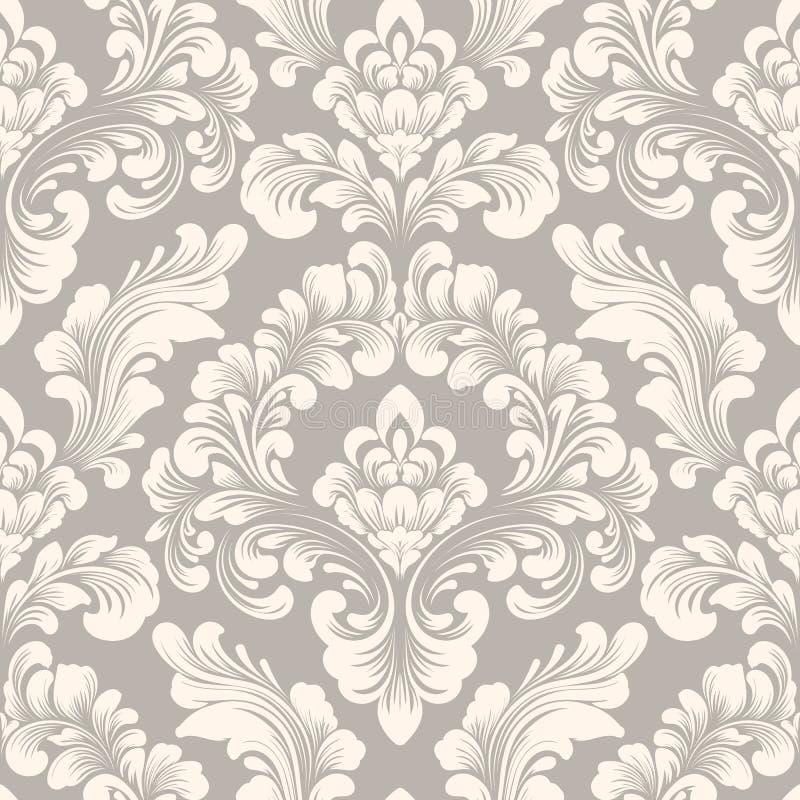 Elemento sem emenda do teste padrão do damasco do vetor Ornamento antiquado luxuoso clássico do damasco, textura sem emenda do vi ilustração royalty free