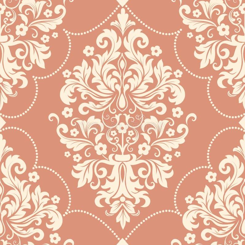 Elemento sem emenda do teste padrão do damasco do vetor Ornamento antiquado luxuoso clássico do damasco, textura sem emenda do vi ilustração stock