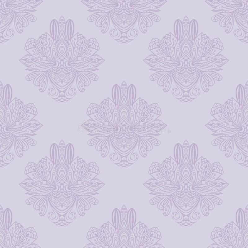 Elemento sem emenda do teste padrão do damasco do vetor A textura luxuosa elegante para papéis de parede, os fundos e a página en ilustração stock