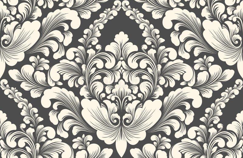 Elemento senza cuciture del modello del damasco di vettore Ornamento antiquato di lusso classico del damasco, struttura senza cuc illustrazione vettoriale