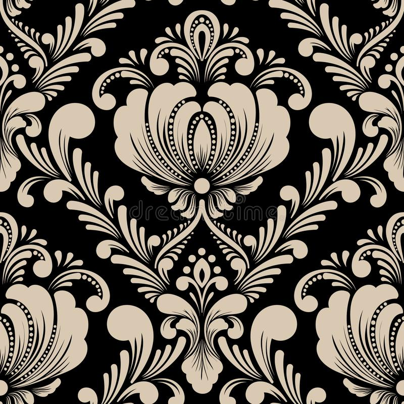 Elemento senza cuciture del modello del damasco di vettore Ornamento antiquato di lusso classico del damasco, struttura senza cuc illustrazione di stock